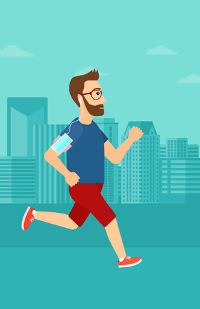 armband: A hipster man with the beard training with earphones and a smart phone armband on a city background vector flat design illustration. Vertical layout.