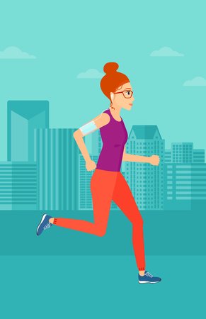 smart woman: A woman training with earphones and a smart phone armband on a city background vector flat design illustration. Vertical layout. Illustration
