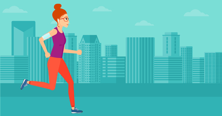 smart phone woman: A woman training with earphones and a smart phone armband on a city background vector flat design illustration. Horizontal layout. Illustration