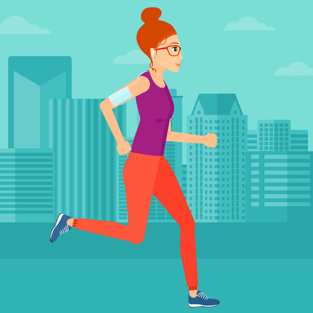 armband: A woman training with earphones and a smart phone armband on a city background vector flat design illustration. Square layout.