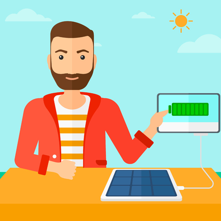 sun sky: A hipster man with the beard charging a tablet computer with solar panel on the background of blue sky vector flat design illustration. Square layout. Illustration