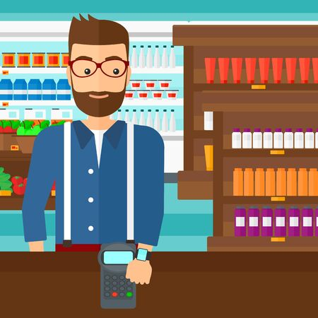 A hipster man with smart watch on the wrist making payment transaction on the background of supermarket shelves with products vector flat design illustration. Square layout. Ilustração