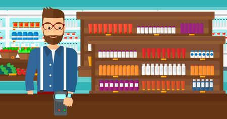 wireless terminals: A hipster man with smart watch on the wrist making payment transaction on the background of supermarket shelves with products vector flat design illustration. Horizontal layout.