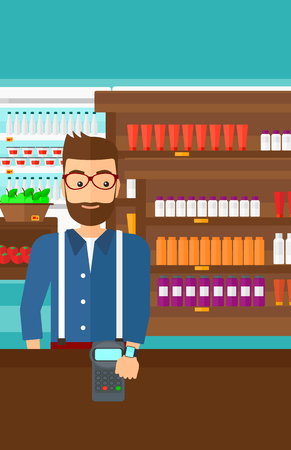 A hipster man with smart watch on the wrist making payment transaction on the background of supermarket shelves with products vector flat design illustration. Vertical layout. 일러스트