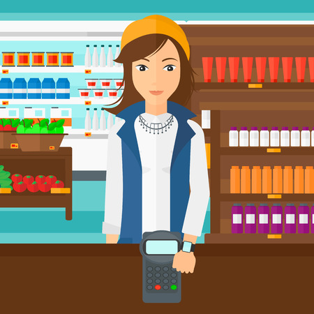 A woman with smart watch on the wrist making payment transaction on the background of supermarket shelves with products vector flat design illustration. Square layout. Illustration