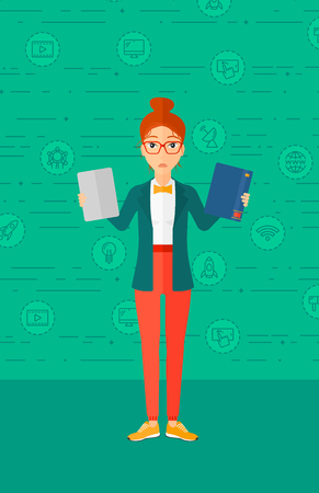 A confused woman choosing between a tablet computer and a paper book on a green background with technology icons vector flat design illustration. Vertical layout. Illustration