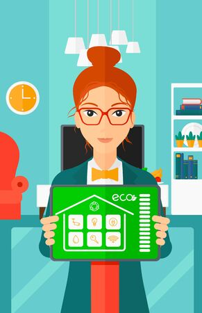smart woman: A woman holding a tablet computer with smart home application on a screen on the background of modern  living room vector flat design illustration. Vertical layout.