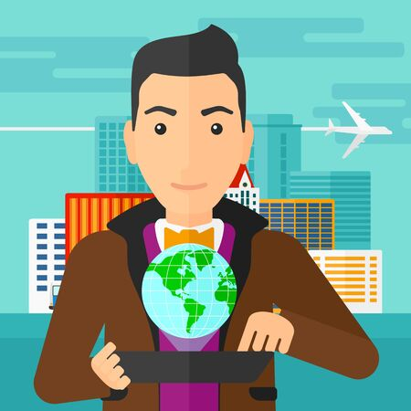 cartoon globe: A man standing with a tablet computer in hands and a model of globe above the device on the background of modern city vector flat design illustration. Square layout.