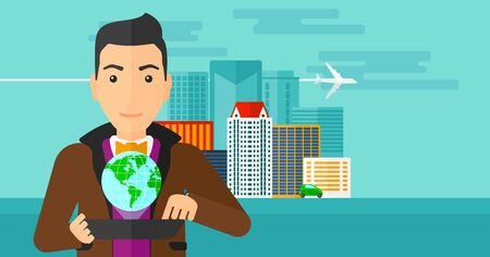media gadget: A man standing with a tablet computer in hands and a model of globe above the device on the background of modern city vector flat design illustration. Horizontal layout. Illustration