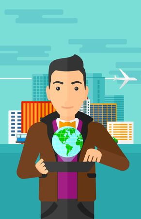 cartoon building: A man standing with a tablet computer in hands and a model of globe above the device on the background of modern city vector flat design illustration. Vertical layout. Illustration