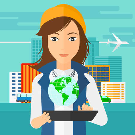 cartoon hands: A woman standing with a tablet computer in hands and a model of globe above the device on the background of modern city vector flat design illustration. Square layout.