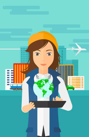 communication cartoon: A woman standing with a tablet computer in hands and a model of globe above the device on the background of modern city vector flat design illustration. Vertical layout. Illustration