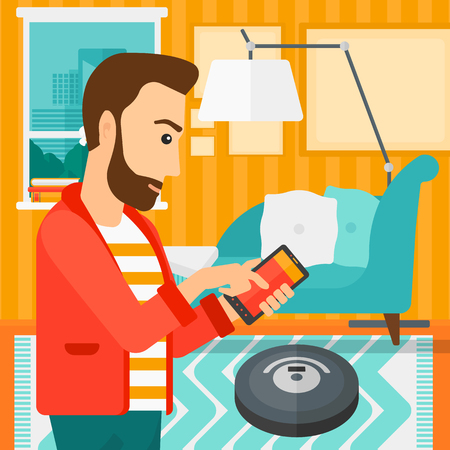 A hipster man with the beard controlling robot vacuum cleaner with his smartphone on the background of living room vector flat design illustration. Square layout.
