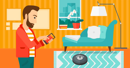 controlling: A hipster man with the beard controlling robot vacuum cleaner with his smartphone on the background of living room vector flat design illustration. Horizontal layout.