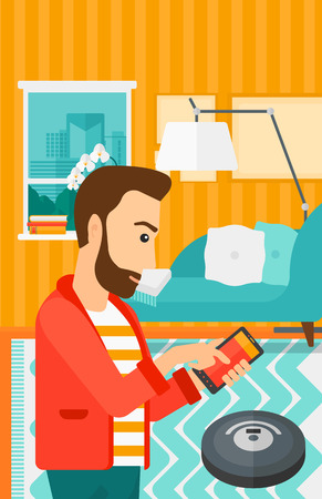 controlling: A hipster man with the beard controlling robot vacuum cleaner with his smartphone on the background of living room vector flat design illustration. Vertical layout. Illustration