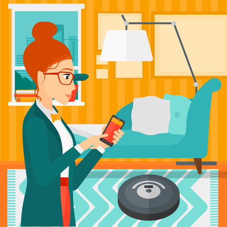 controlling: A woman controlling robot vacuum cleaner with her smartphone on the background of living room vector flat design illustration. Square layout.