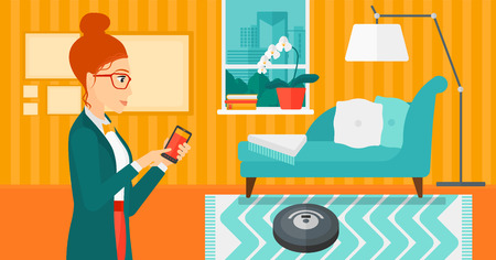 controlling: A woman controlling robot vacuum cleaner with her smartphone on the background of living room vector flat design illustration. Horizontal layout.
