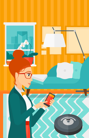 controlling: A woman controlling robot vacuum cleaner with her smartphone on the background of living room vector flat design illustration. Vertical layout. Illustration