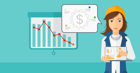 A woman pointing at the laptop with some charts on the background of projector roller screen with decreasing chart vector flat design illustration. Horizontal layout. Ilustração Vetorial