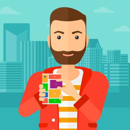 A hipster man with the beard holding modular phone on a city background vector flat design illustration. Square layout.