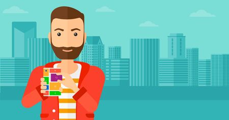 repurpose: A hipster man with the beard holding modular phone on a city background vector flat design illustration. Horizontal layout. Illustration