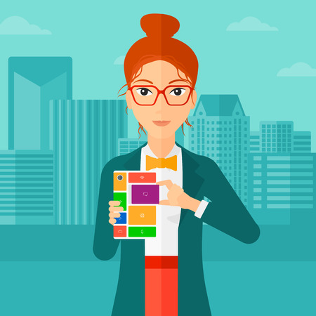 A woman holding modular phone on a city background vector flat design illustration. Square layout.