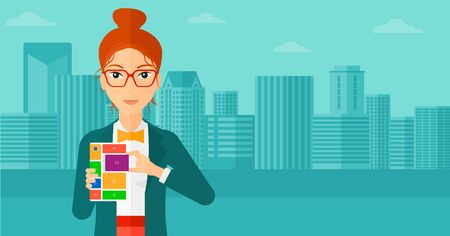 A woman holding modular phone on a city background vector flat design illustration. Horizontal layout.