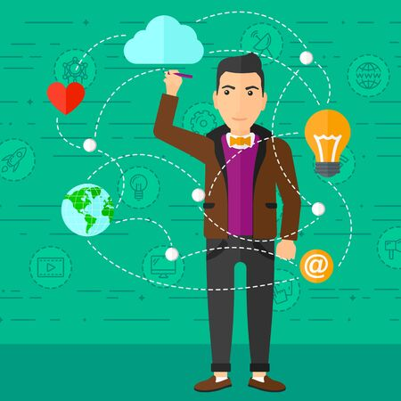 flat earth: A man writing on virtual board on a green background with technology icons vector flat design illustration. Square layout.