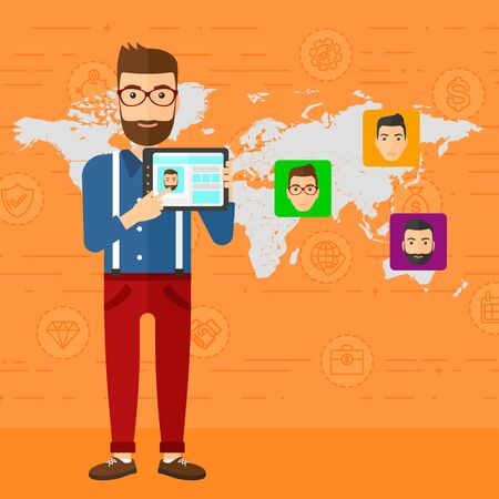 A hipster man with the beard holding a tablet computer and avatars on the map behind him on an orange background with business icons vector flat design illustration. Square layout.