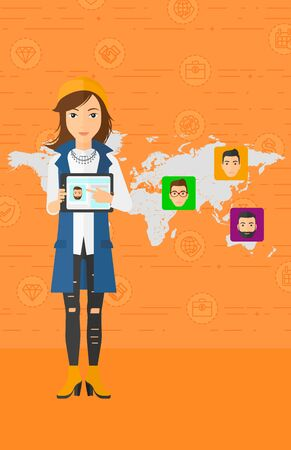 media gadget: A woman holding a tablet computer and avatars on the map behind her on an orange background with business icons vector flat design illustration. Vertical layout.