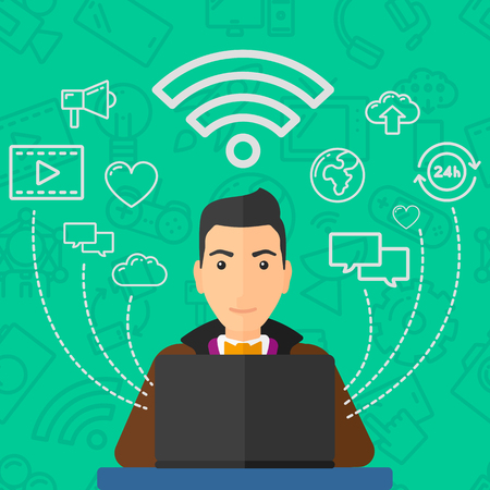 wireless signal: A man working on a laptop and social computer network icons above him on a green background with technology icons vector flat design illustration. Square layout.