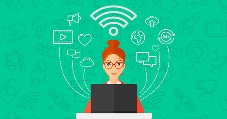 woman on phone: A woman working on a laptop and social computer network icons above her on a green background with technology icons vector flat design illustration. Horizontal layout. Illustration