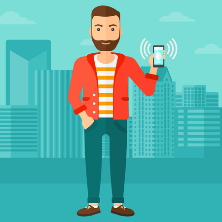 vibrating: A hipster man with the beard holding vibrating smartphone on a city background vector flat design illustration. Square layout. Illustration