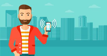 A hipster man with the beard holding vibrating smartphone on a city background vector flat design illustration. Horizontal layout. Illustration