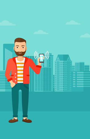vibrating: A hipster man with the beard holding vibrating smartphone on a city background vector flat design illustration. Vertical layout. Illustration