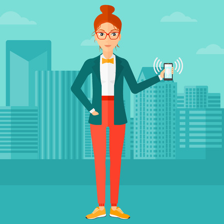 vibrating: A woman holding vibrating smartphone on a city background vector flat design illustration. Square layout. Illustration