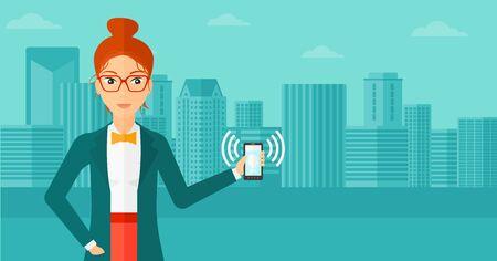 vibrating: A woman holding vibrating smartphone on a city background vector flat design illustration. Horizontal layout.