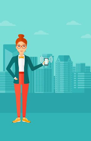 smart phone woman: A woman holding vibrating smartphone on a city background vector flat design illustration. Vertical layout.