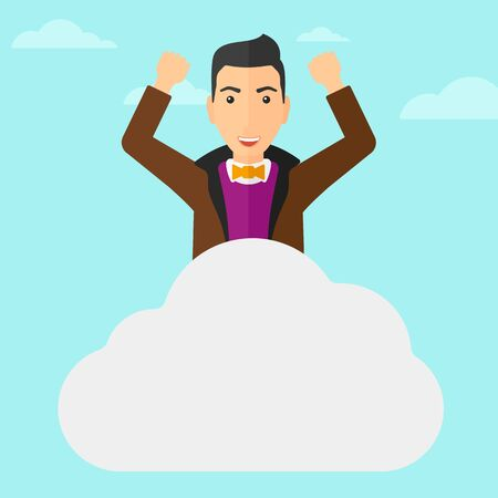 hands raised sky: A man with raised hands sitting on a cloud on the background of blue sky vector flat design illustration. Square layout.