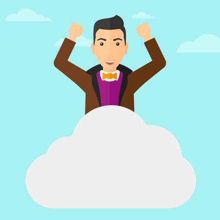 manos levantadas al cielo: Un hombre con las manos levantadas sentado en una nube en el fondo de cielo azul ilustración vectorial diseño plano. de planta cuadrada. Vectores