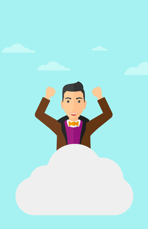 hands raised sky: A man with raised hands sitting on a cloud on the background of blue sky vector flat design illustration. Vertical layout.