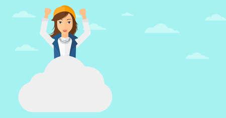 manos levantadas al cielo: Una mujer con las manos levantadas sentado en una nube en el fondo de cielo azul ilustración vectorial diseño plano. disposición horizontal. Vectores