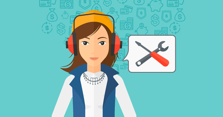 An operator of technical support with headphone set and speech square on a blue background with business icons vector flat design illustration. Horizontal layout. Illustration