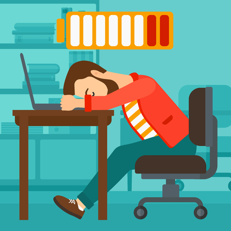 employees: A hipster man with the beard sleeping at workplace on laptop keyboard and low power battery sign over his head on the background of business office vector flat design illustration. Square layout.