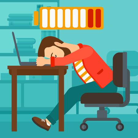 empleados trabajando: Un hombre inconformista de la barba para dormir en el lugar de trabajo en el teclado port�til y el s�mbolo de bater�a baja potencia por encima de su cabeza en el fondo del vector de la oficina de negocio ilustraci�n dise�o plano. de planta cuadrada. Vectores