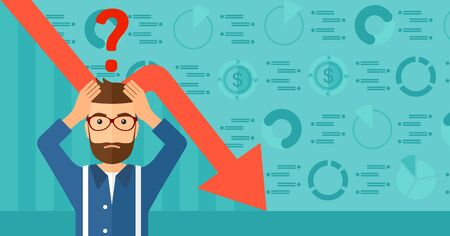 A hipster man with the beard clutching his head and a big question mark above on the background of business graph going down vector flat design illustration. Horizontal layout.