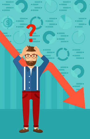going down: A hipster man with the beard clutching his head and a big question mark above on the background of business graph going down vector flat design illustration. Vertical layout.