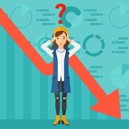 Una donna che stringe la testa e un grande punto interrogativo sopra sullo sfondo del grafico di business scendendo disegno vettoriale piatta illustrazione. pianta quadrata.
