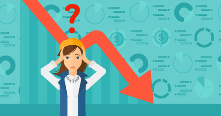 A woman clutching her head and a big question mark above on the background of business graph going down vector flat design illustration. Horizontal layout. Illustration