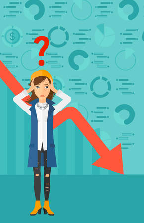 A woman clutching her head and a big question mark above on the background of business graph going down vector flat design illustration. Vertical layout.